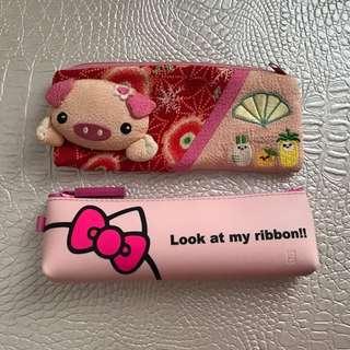 Hello Kitty粉色果凍/豬花刺繡 鉛筆袋
