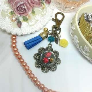 Flowers & Golden Ladybug Bag Charm handmade