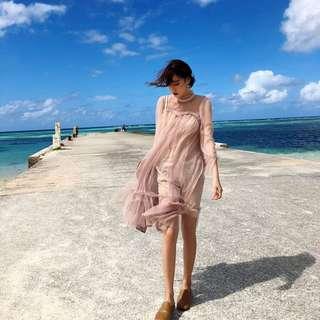 ioz 春 甜美浪漫粉色蕾絲洋裝 連身裙