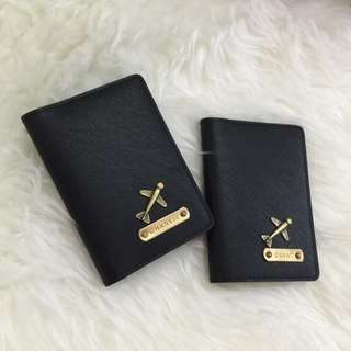 Custom Passport Holder Personalised Passport Cover Customised NAME Passport Case Saffiano Black Plane Charm FREE SHIPPING Many Colours & Charms