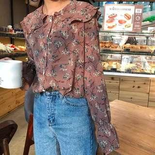 [PO] floral chiffon blouse