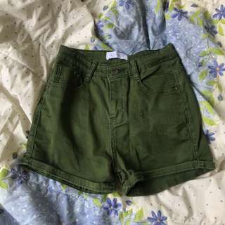 army green highwaist shorts