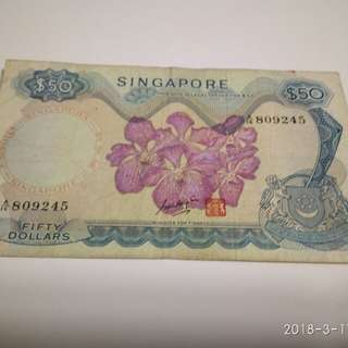 Singapore Old $50 Orchid Note