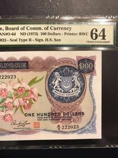 Orchid series $100 pmg 64 UNC