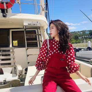 ioz 春 小清新甜美可愛圓點雪紡紅色襯衫