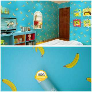 Grosir murah wallpaper sticker dinding hijau toska banana