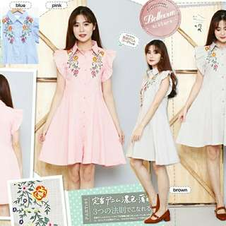 Zara Embroidery Dress  Bahan katun fit to L, real bordir