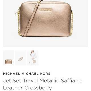 Pre-order: MK JET SET SAFFIANO CROSSBODY IN PALE GOLD