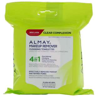 ✨PO✨Almay, Clear Complexion Makeup Remover Cleansing Towelettes, 25 Ultra-Soft Wipes