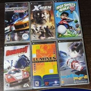 6 PSP Game Cases with Info Booklets (No UMDs)