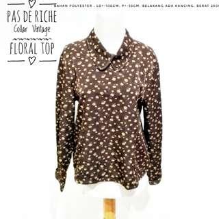 Pas de Riche Collar Vintage Floral Top | Pakaian Wanita | Atasan Import