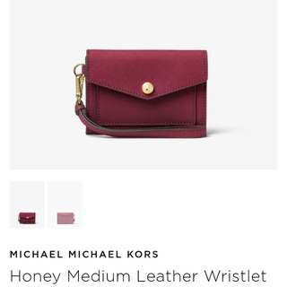 Pre-order: MK HONEY MEDIUM LEATHER WRISTLET