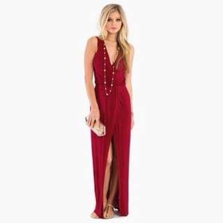 Burgundy Maroon Dark Red Maxi Long Formal Dress With Leg Split And Deep v