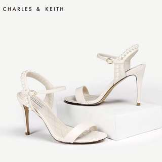 Charles and Keith Ivory Pearl Embellishment T-strap Heeled Sandals Wedding Shoes