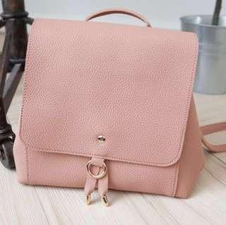 🚚 Muura粉紅色軟皮荔枝紋 肩背包 翻蓋後背包 $300 降價