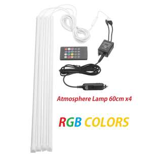 4x60cm LED RGB Car Interior Atmosphere Light Foot Light Decor Lamp Remote control IR/Voice control