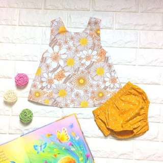 🦁Instock - 2pc floral mustard set, baby infant toddler girl children sweet kid happy abcdefgh hello there