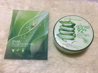 SUPER SALE!! Php 250 - Nature Republic Bundle (Aloe Vera Gel and Snail Solution Mask Sheet)