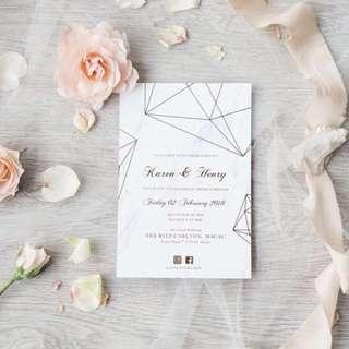 Wedding Invitation Card in Marble Print Full Set (Card, Ribbon, Tag, Envelope, Sticker) Wedding Favors  Paper Box