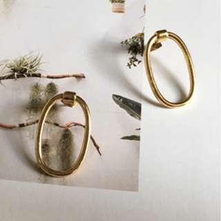 歐美簡約幾何橢圓耳環(預購)