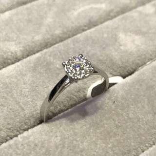 1卡效果18k白金9圍一鑽石戒指💍情人節紀念日女朋友禮物💎現貨