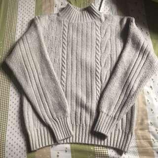 微高領金蔥麻花針織毛衣