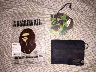 Porter Tokyo x A Bathing Ape black wallet