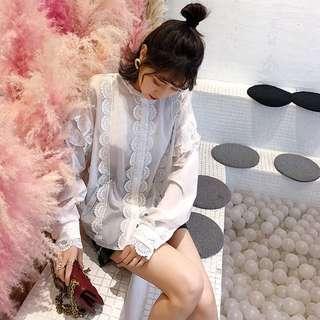 ioz 春 可愛唯美蕾絲白色長袖襯衫