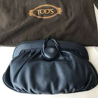Authentic Tod's leather navy blue clutch bag