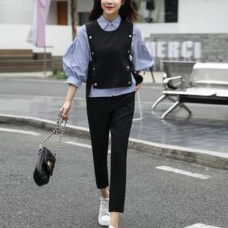 3 pc puff sleeve blouse and Button Detail Vest and Pants set