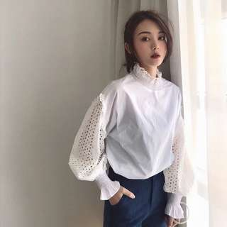 ioz 春 甜美高領蕾絲燈籠袖白色襯衫衣