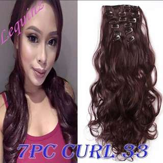 2sets Free Maintain Set! 7pc Curly Wavy Maroon Hair Extensions