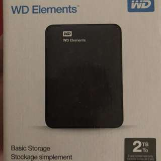 BRAND NEW! 2TB WD elements portable hard drive