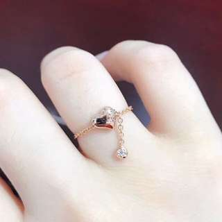 18k玫瑰金心心天然鑽石可調節鏈戒💍時尚日韓百搭款🎁情人節禮物