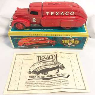 1:26 Scale Die-Cast Replica of 1939 TEXACO Dodge Airflow Tanker Locking Coin Bank by ERTL. (Pre-Owned - Mint Condition - Original Box - Mexico)