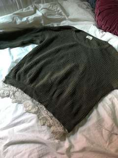 Urban Outfitters Olive Lace Detail Sweater