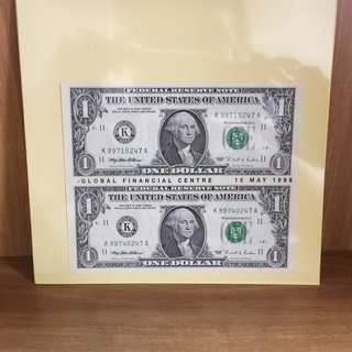 Uncut USD1 - with Global Financial Centre 15 May 1998 - rare!!!