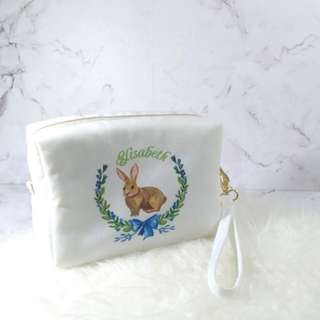Personalised 3in1 canvas pouch, clutch and sling bag (bunny01)