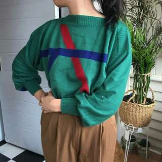 Vintage green boat neck sweater