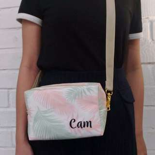Personalised 3in1 canvas pouch, clutch and sling bag (tropical04)