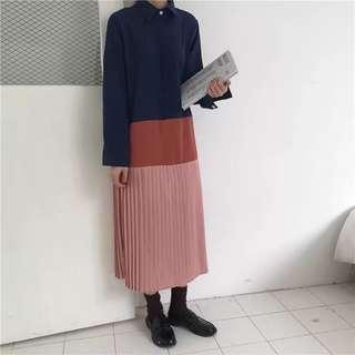 Spring Korean Wild Patchwork Pleated Shirt Dress Loose Long Skirt