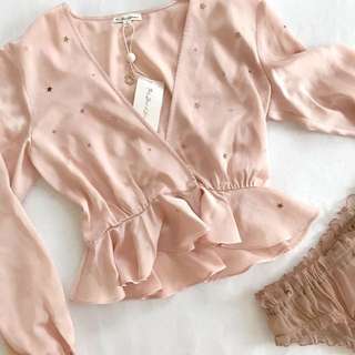 FOR LOVE AND LEMONS TWINKLE LONG SLEEVED BLOUSE IN NUDE PINK (Inspired)