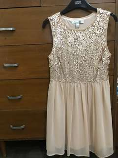 Forever21 Nude Sequin Party Dress