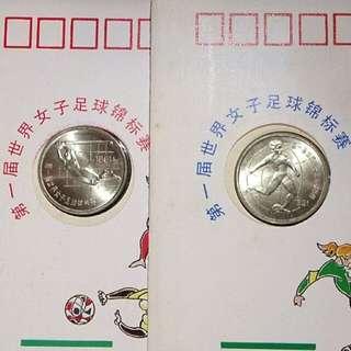 1991第一屆世界女子足球錦標賽紀念幣封2全