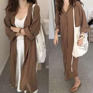 Spring Korean loose lapel long-sleeved shirt jacket female wild knee long shirt