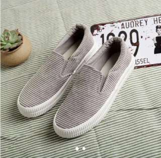 Grey suede loafers size 38