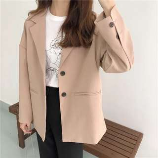 Spring dress Korean solid color casual suit long-sleeved jacket female wild blouse