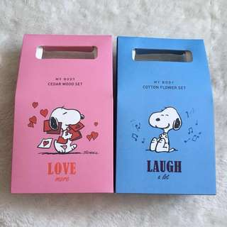 A set of Snoopy x Innisfree Paper Bag Boxes