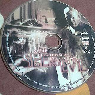DVD  ENGLISH MOVIE  See no evil A reclusive maniac (Kane) terrorizes a group of young petty criminals who have arrived to clean up a rotting hotel as part of their community service. After one of ge