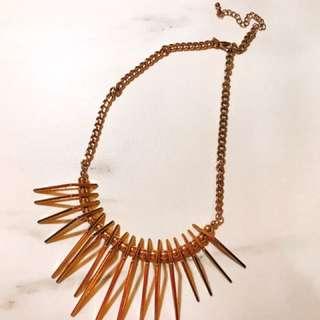 H&M 金色 誇張幾何立體 華麗頸鍊